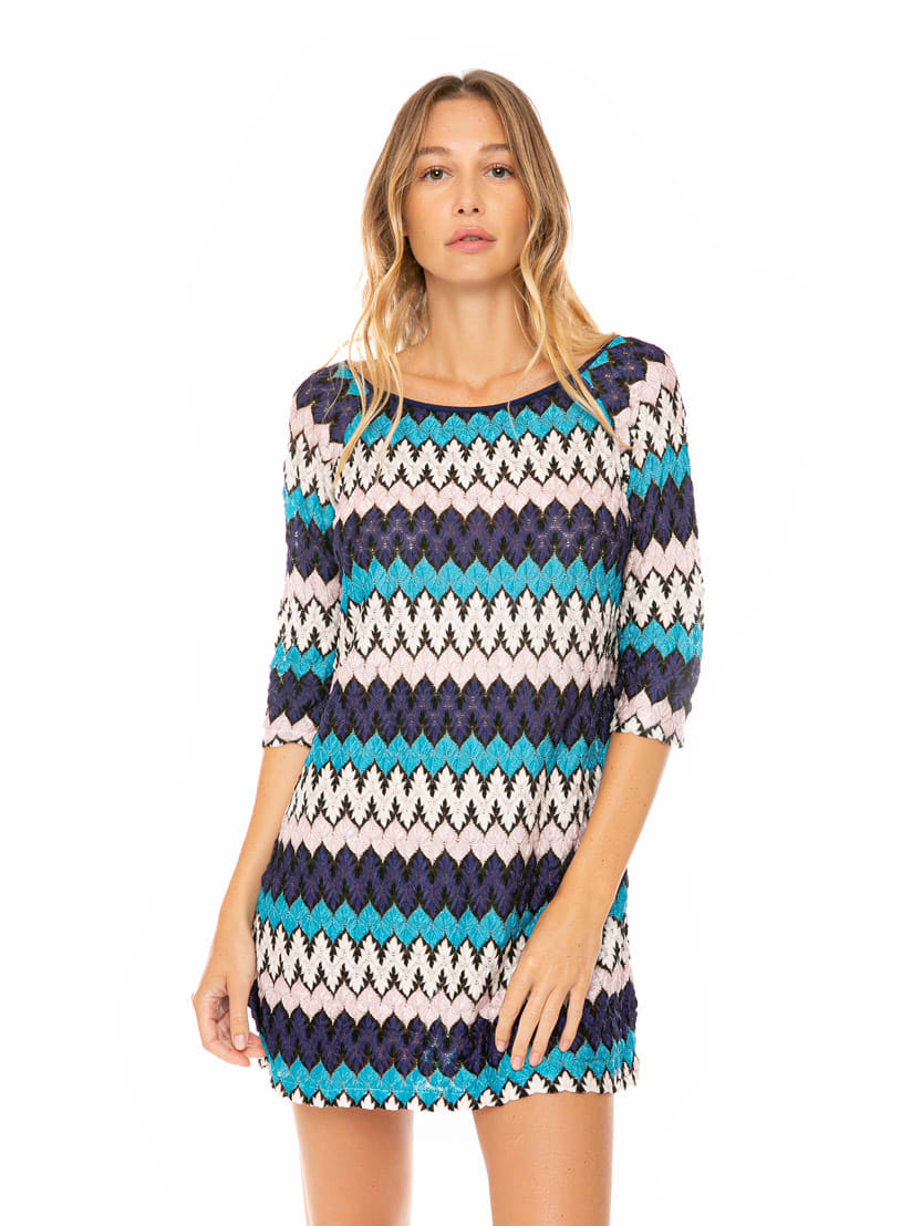 Buy Multicolor Blue And Pink Knitted Mini Dress online, shop MC2 Saint Barth with free shipping