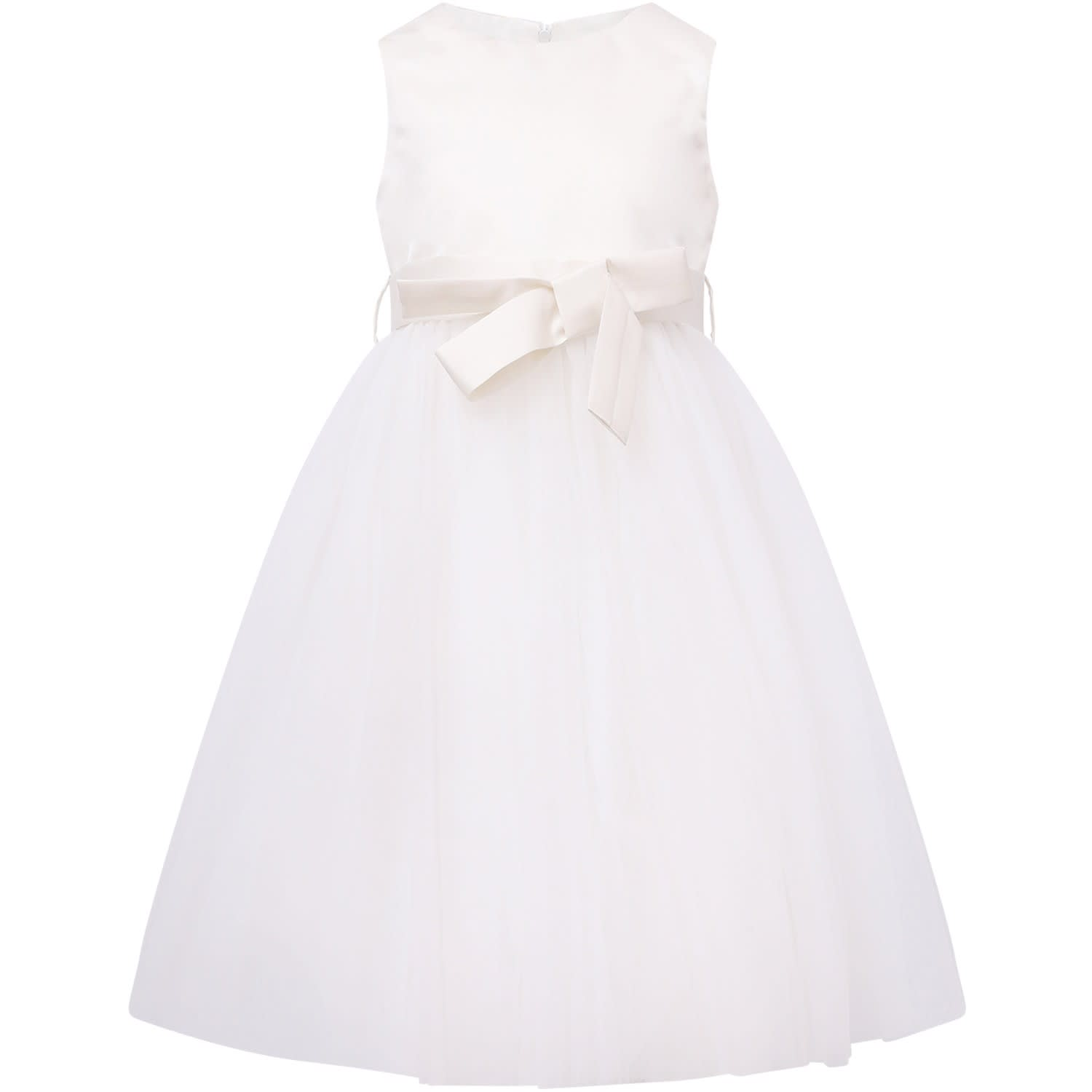 Buy Little Bear White Girl Dress With Satin Bow online, shop Little Bear with free shipping
