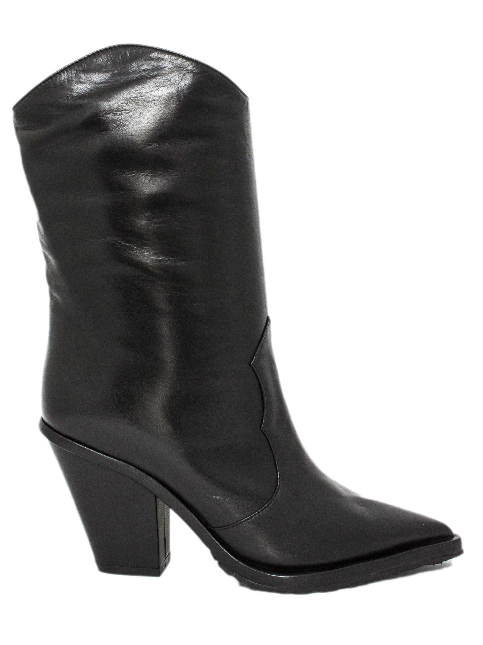 Aldo Castagna Black Leather Cecilia Boots