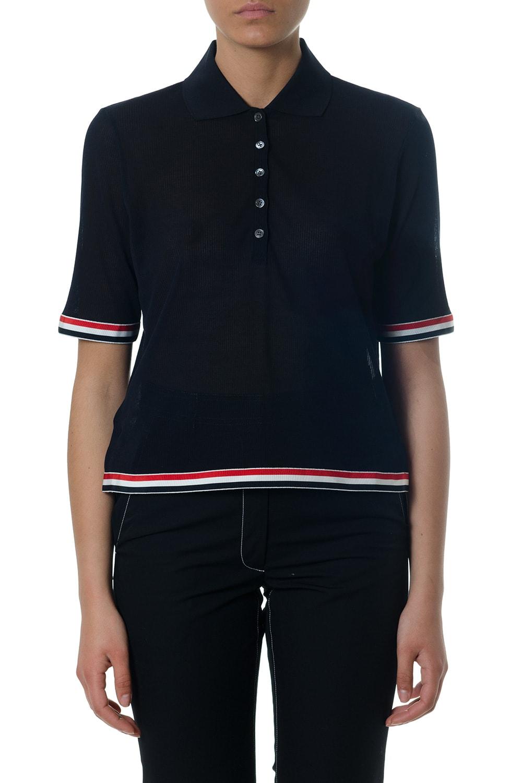 Thom Browne Blue Cotton Polo Shirt