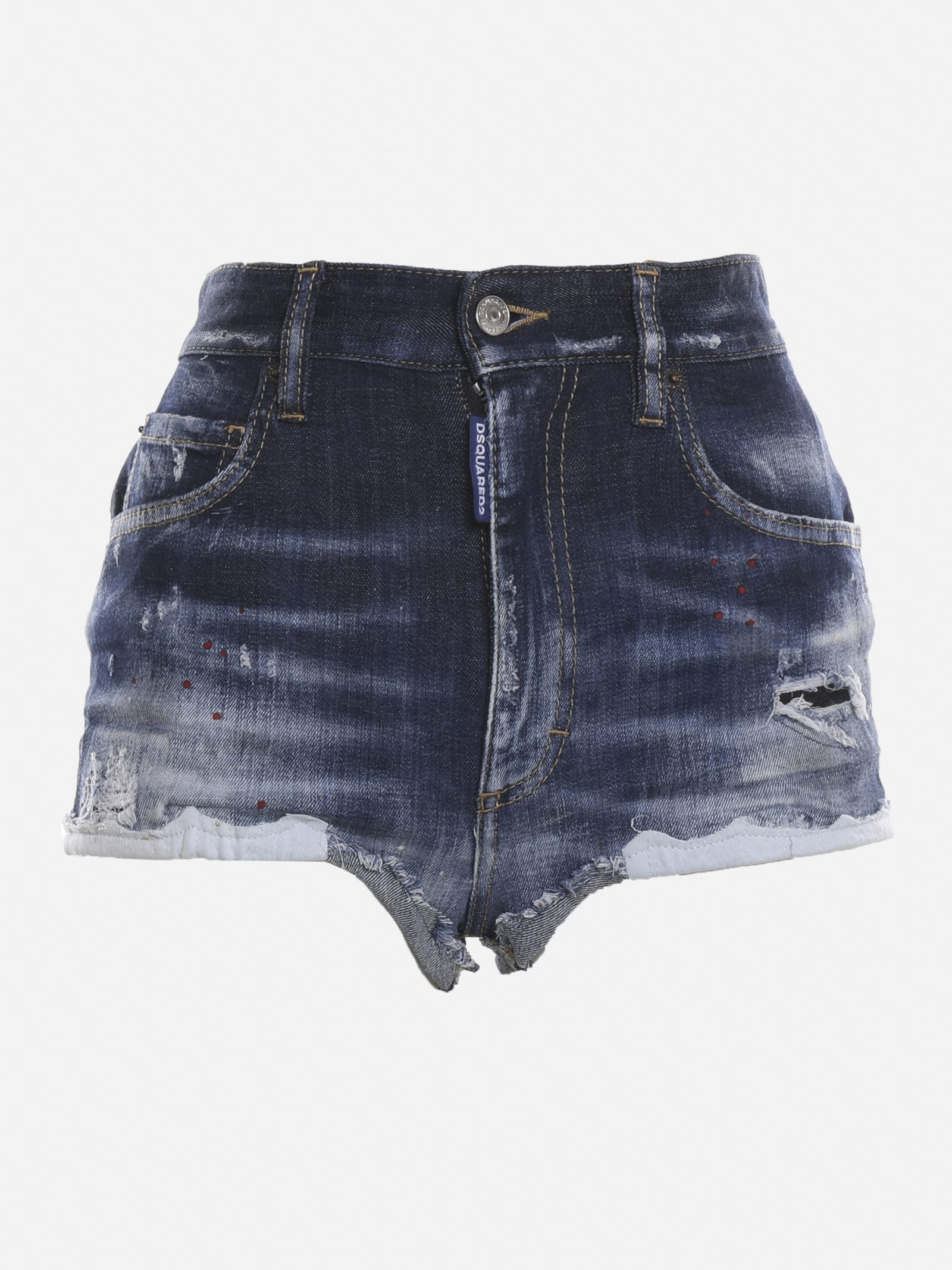Dsquared2 Shorts FADED-EFFECT STRETCH DENIM SHORTS WITH FRAYED EDGES