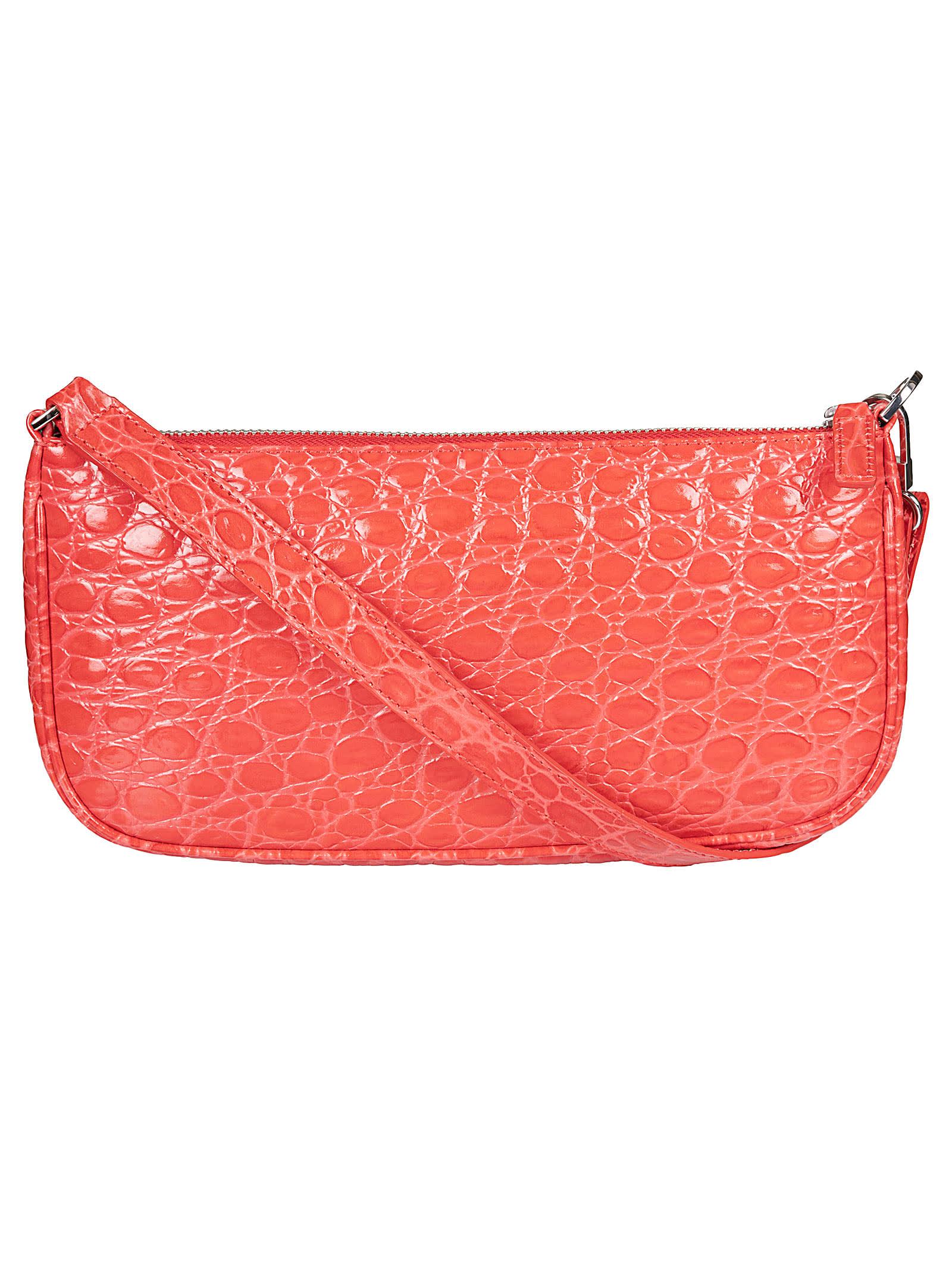 By Far Circular Croco Embossed Leather Shoulder Bag In Pomodoro