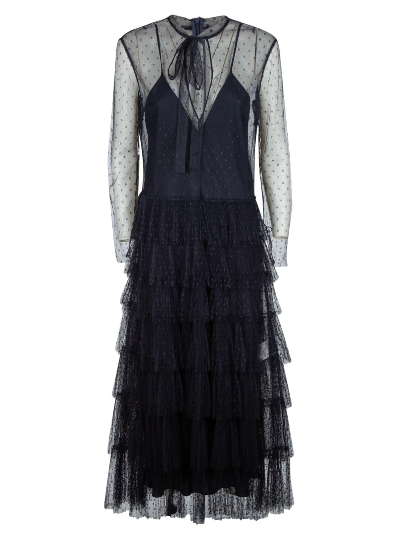 RED Valentino Polka Dot Layered Lace Dress