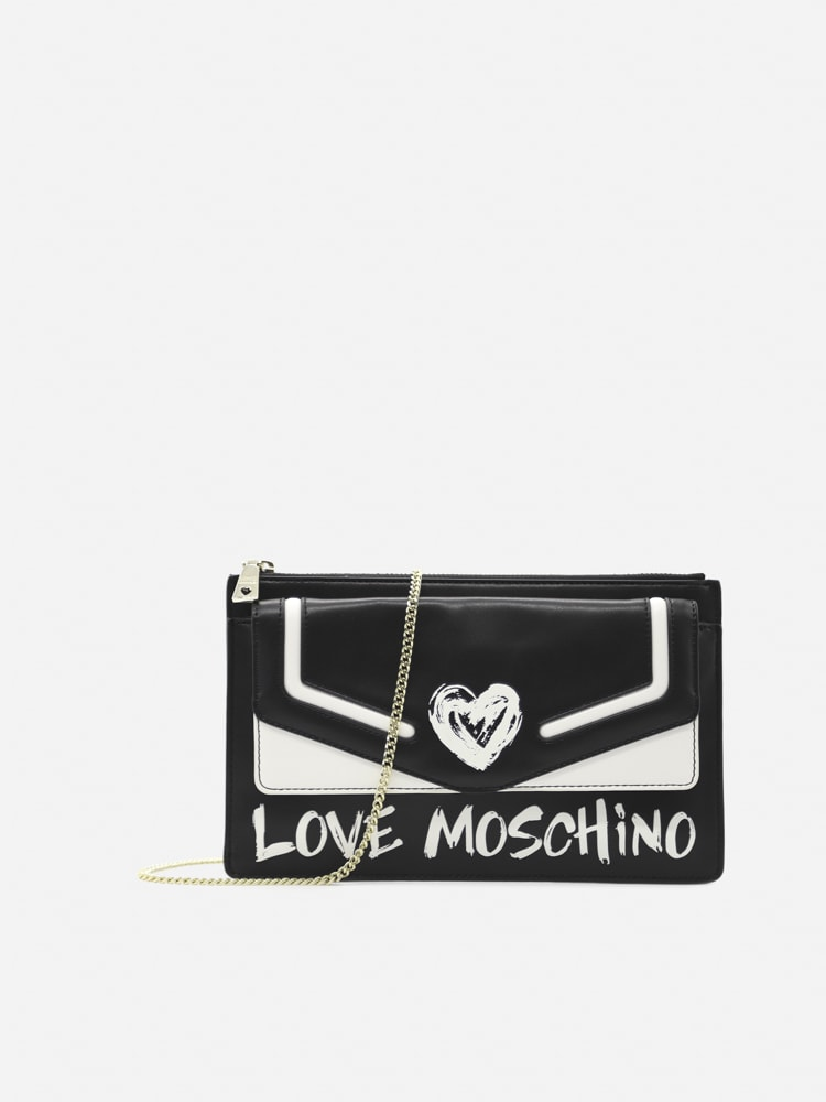 Love Moschino Shoulder Bag With Contrasting Logo Print In Black, White
