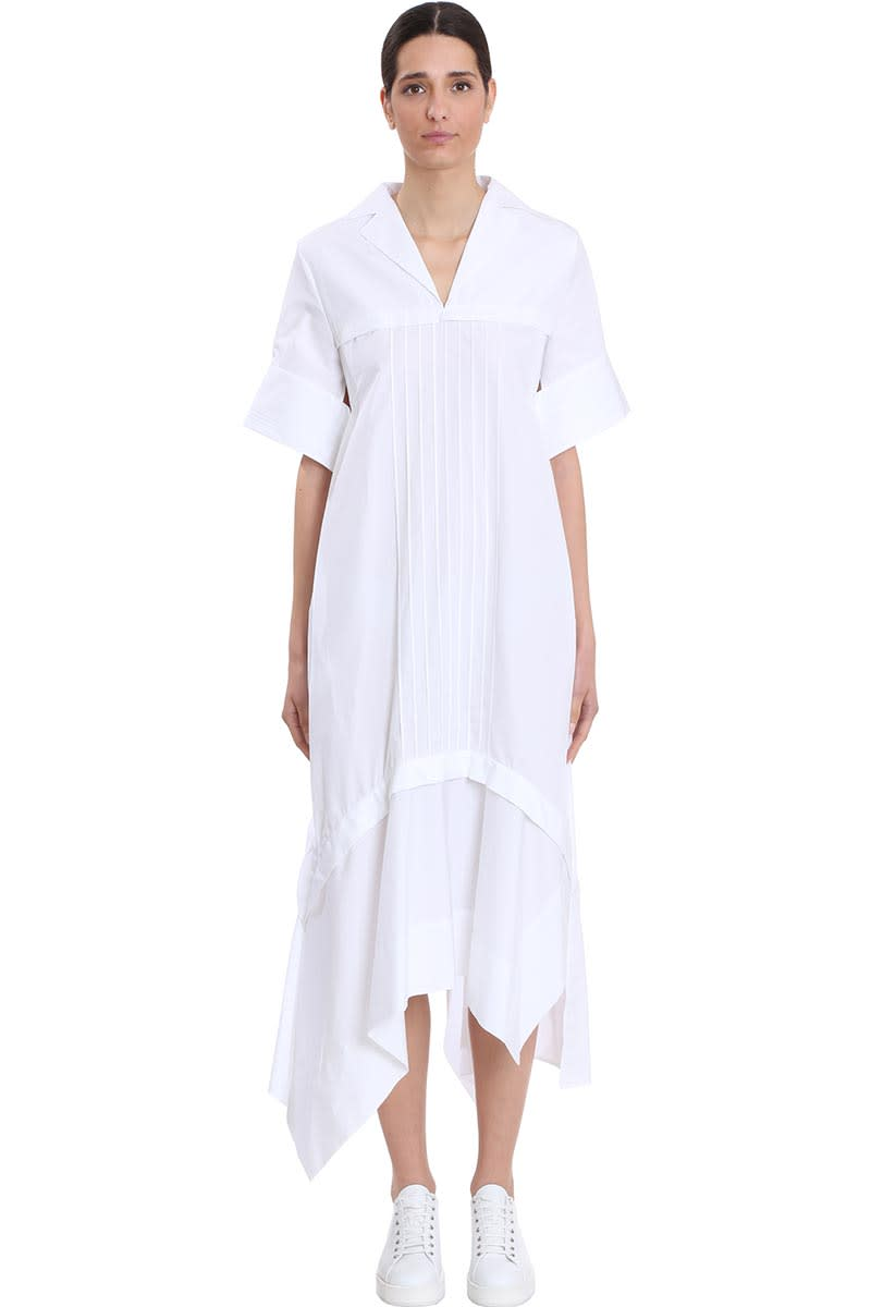 Buy Jil Sander Minerva Dress In White Cotton online, shop Jil Sander with free shipping