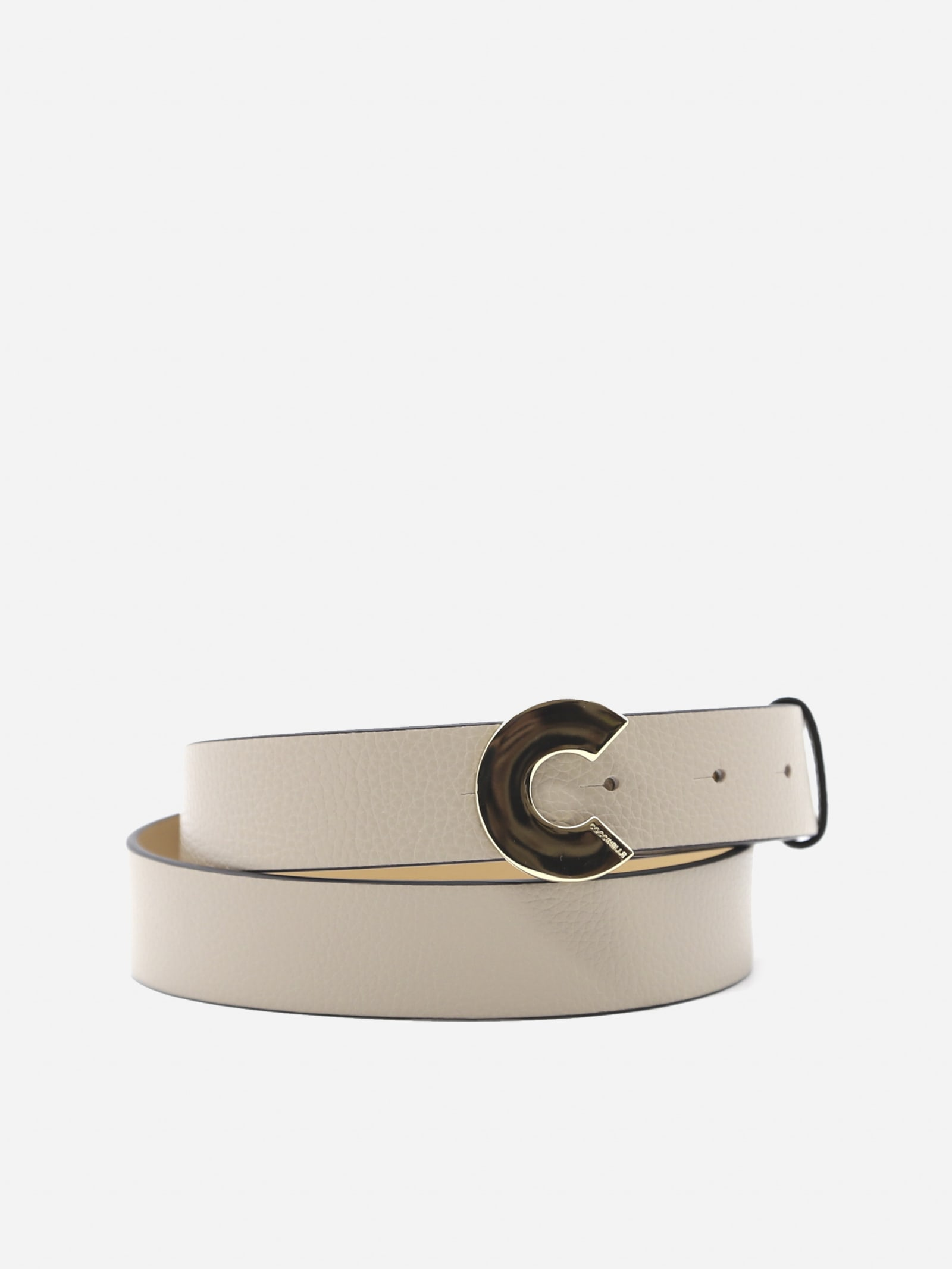 Grained Leather Belt With Logoed Buckle