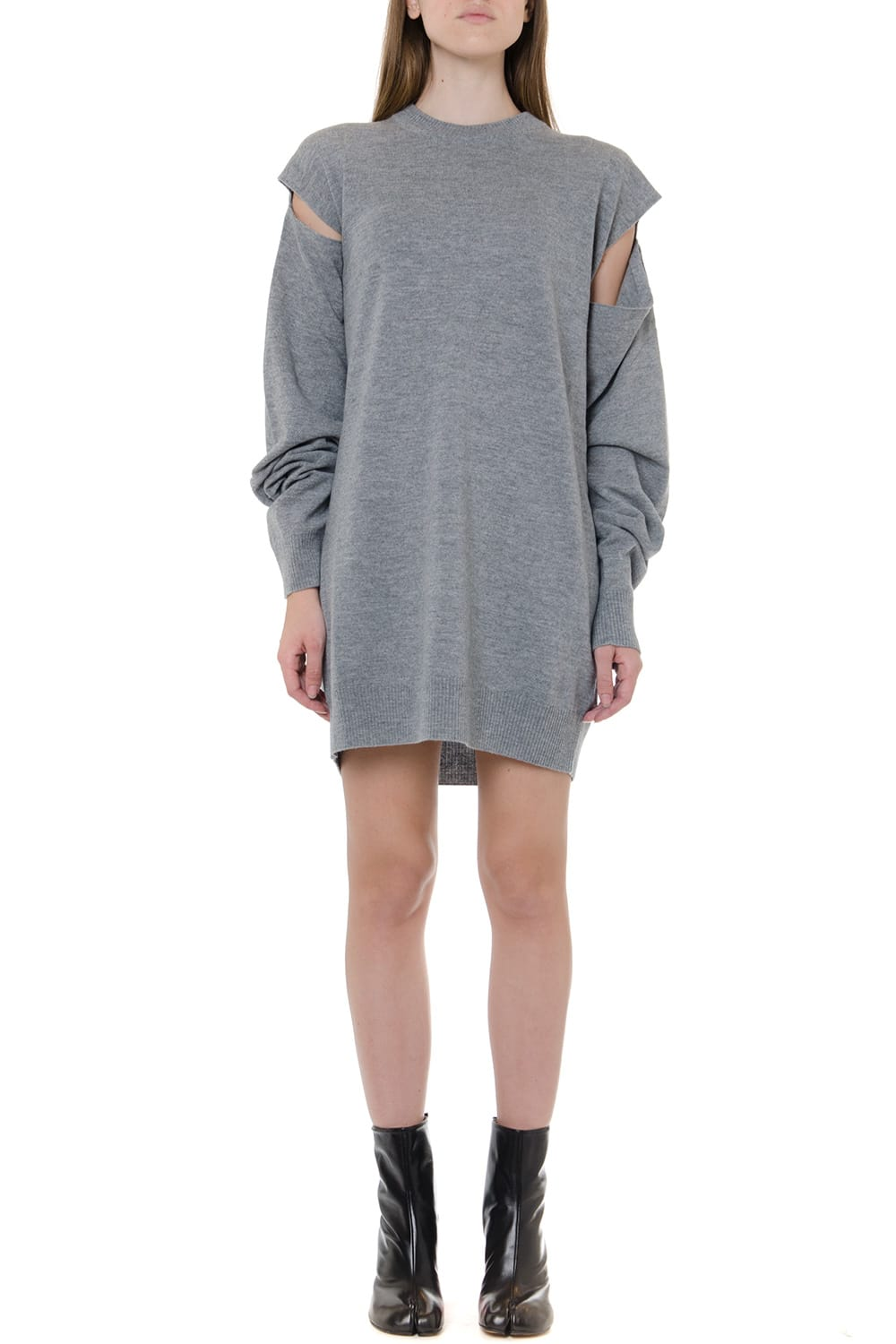 Maison Margiela Grey Wool And Cashmere Dress With Cut Out Details