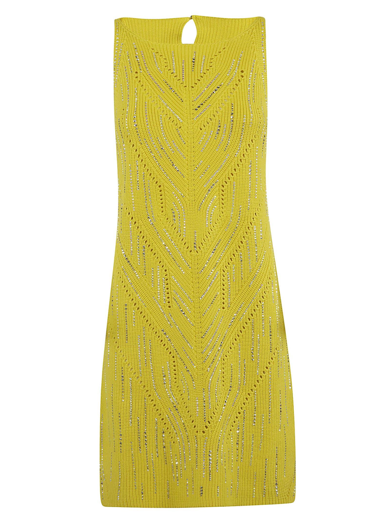 Buy Ermanno Scervino Rib Knit Embellished Dress online, shop Ermanno Scervino with free shipping