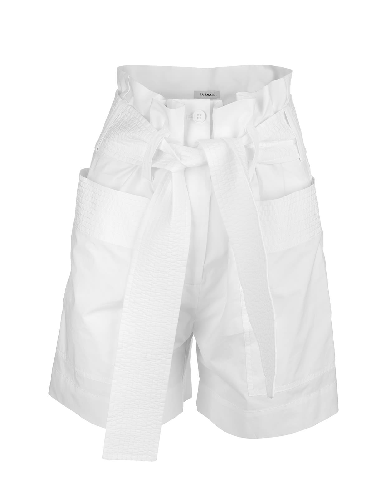 A.R.O.H. high-waisted shorts in white cotton with side patch pockets, flap with zip and button, belt loops, belt in tone with front knot. Length above the knee and soft fit. Composition: 100% Cotton