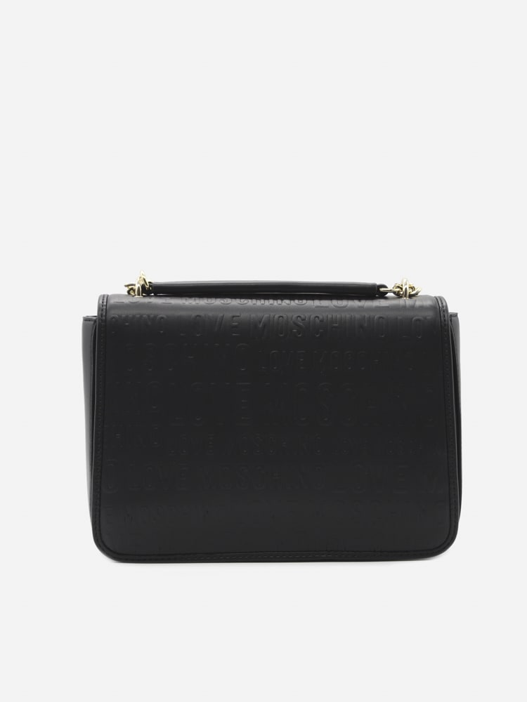 Love Moschino Shoulder Bag With All-over Logo Lettering In Black