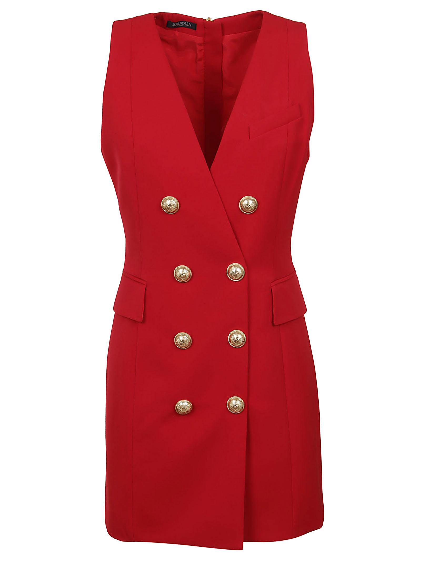 Balmain Short Sleeveless 8 Btn Wool Dress