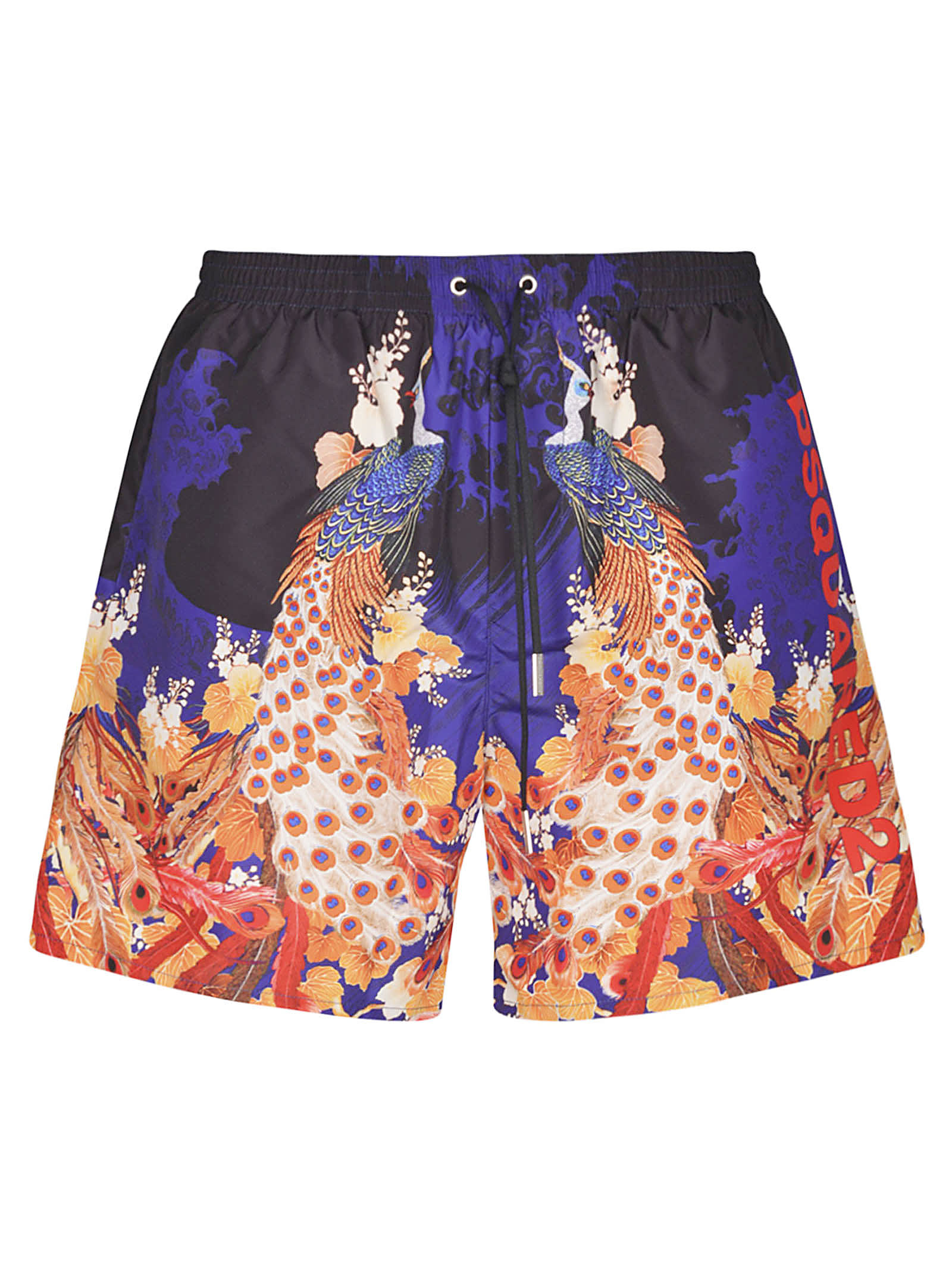 Dsquared2 Tropical Print Side Logo Shorts