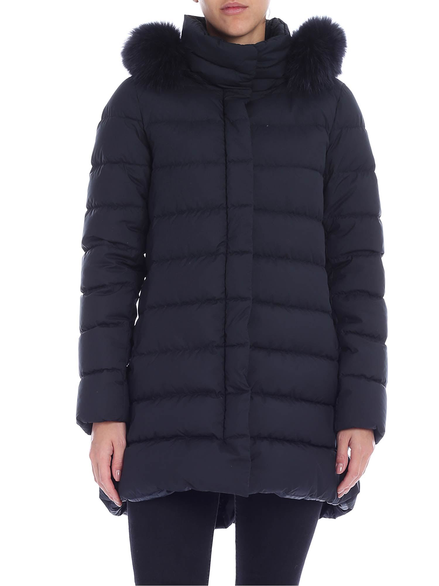 Herno Hooded Down Jacket With Fur Insert