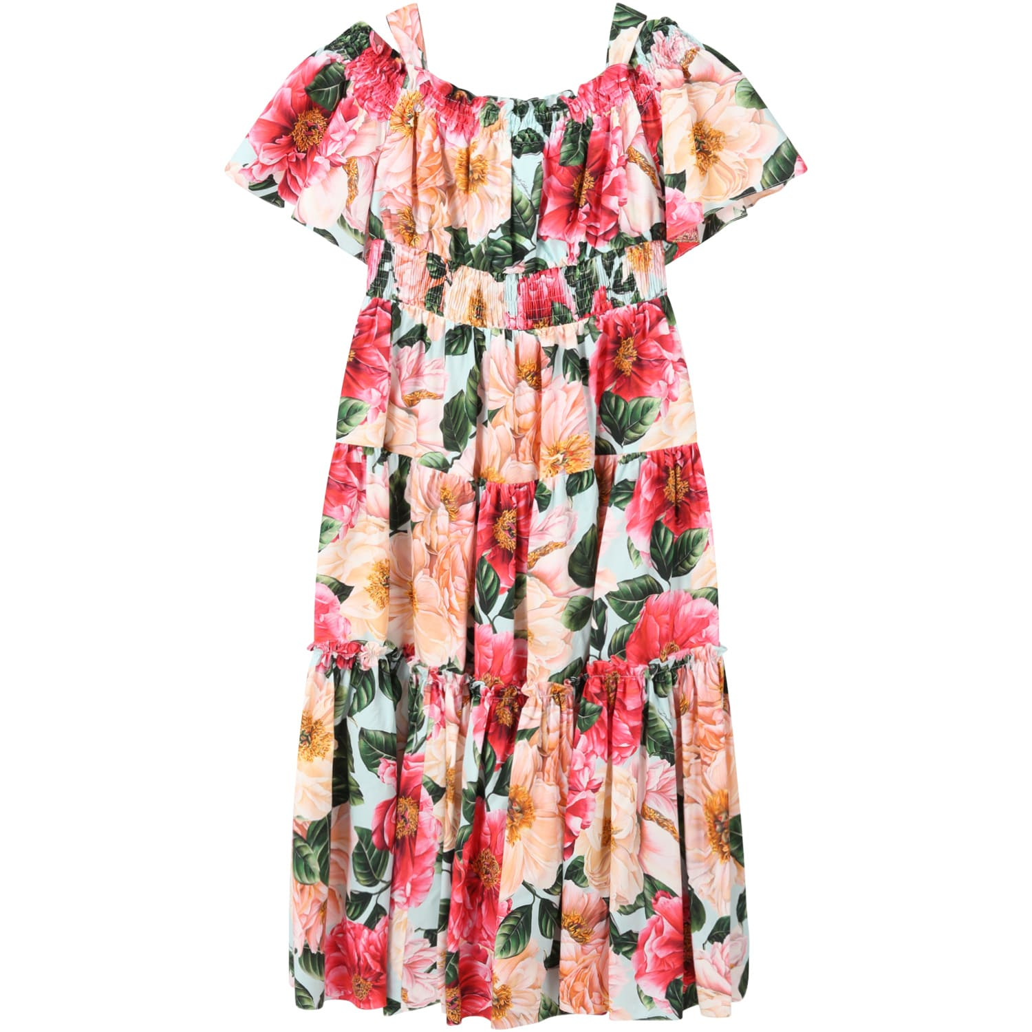 Dolce & Gabbana MULTICOLOR DRESS FOR GIRL WITH CAMELLIAS