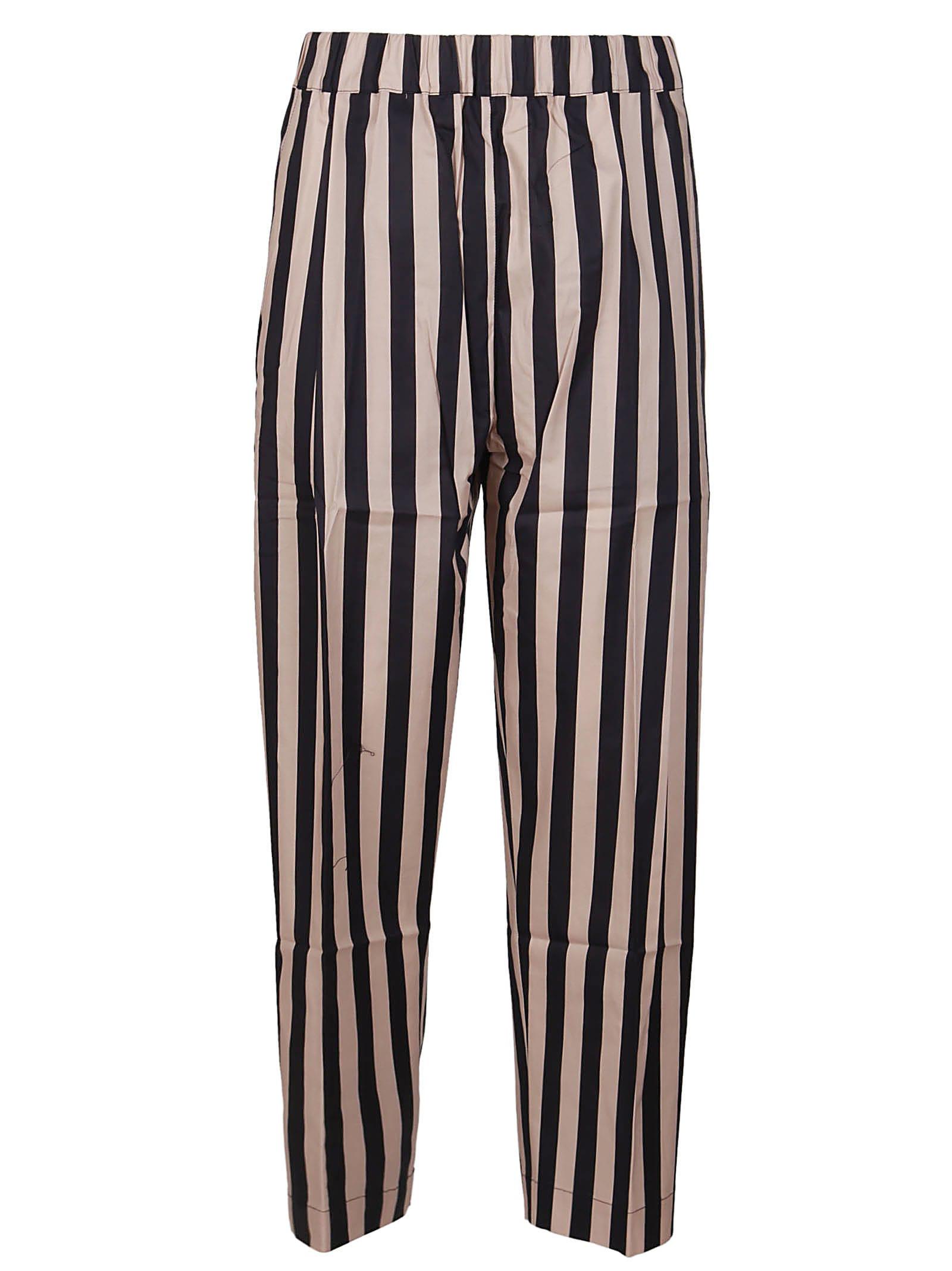 Laneus Straight pants BLACK AND BEIGE COTTON TROUSERS