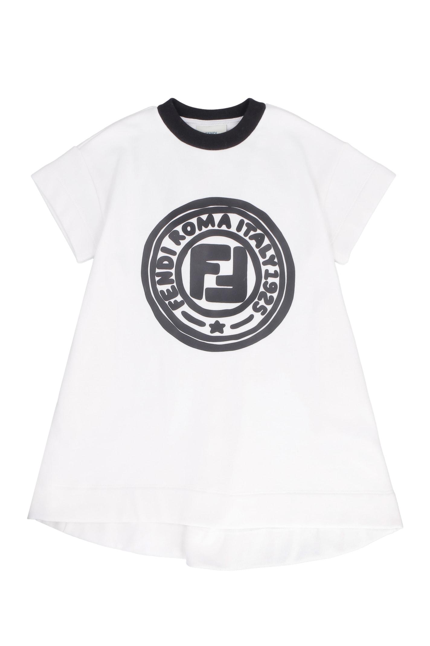 Fendi Logo Print Cotton Sweatdress