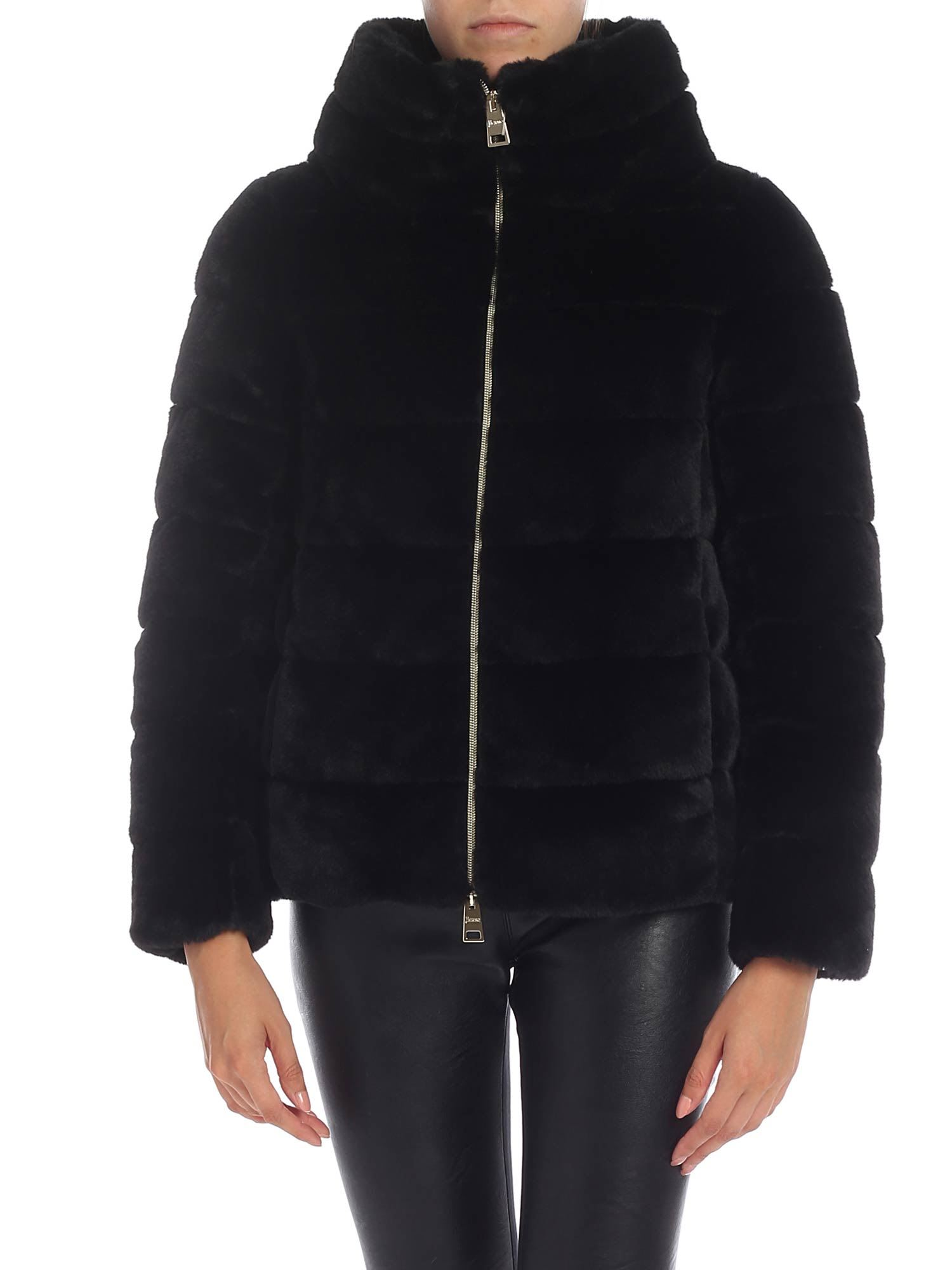 Herno – Eco-fur Coat With Crater Collar