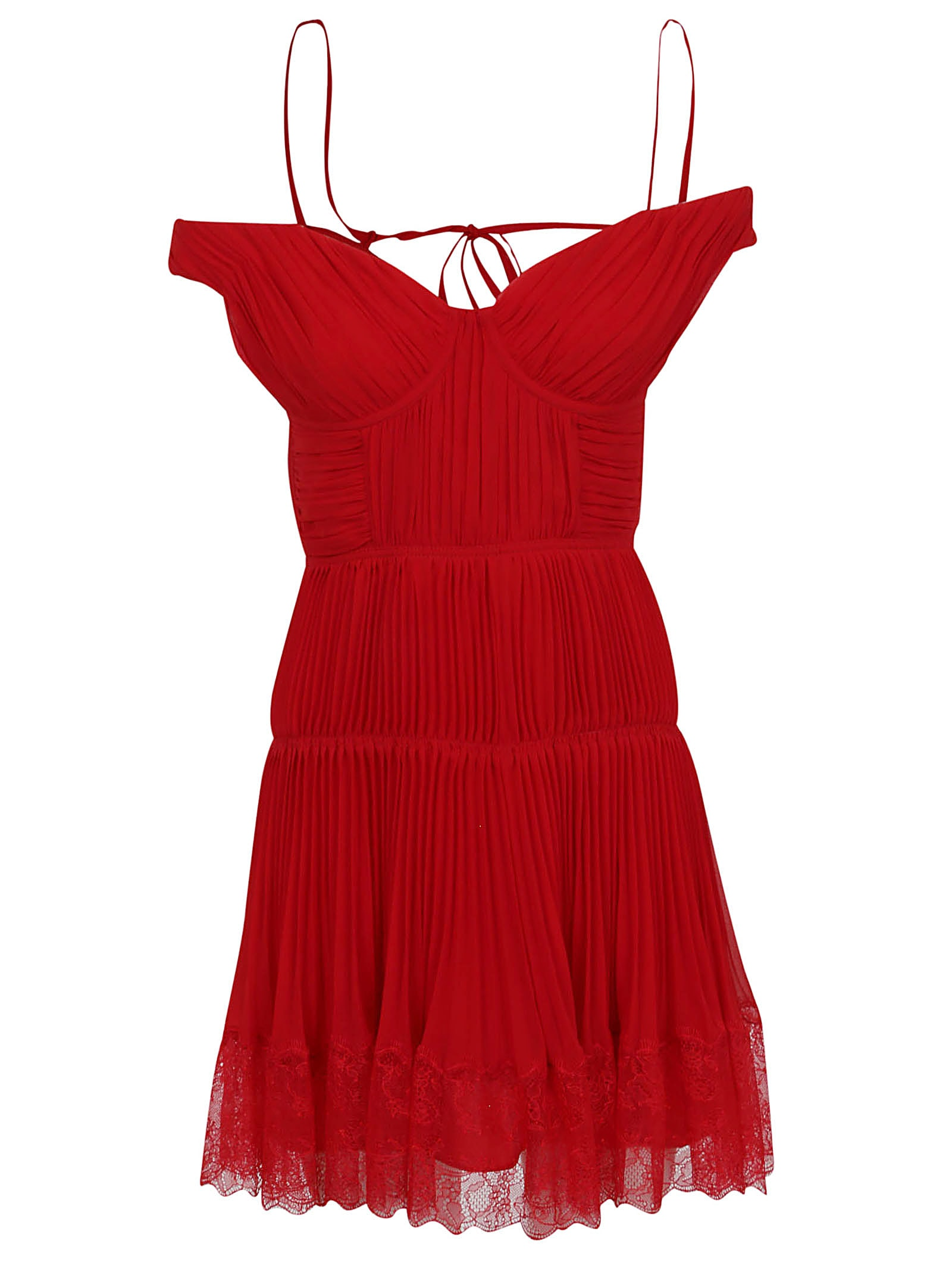 self-portrait Dark Red Off Shoulder Pleated Chiffon Mini Dress