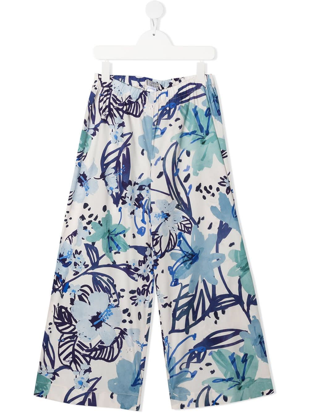 Il Gufo WIDE PANTS IN FLORAL COTTON