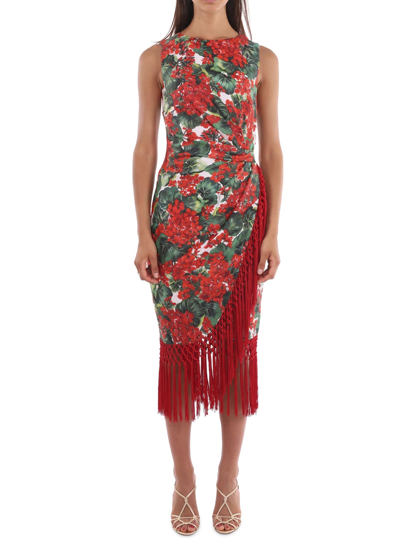 Dolce & Gabbana Geranium Fringed Dress