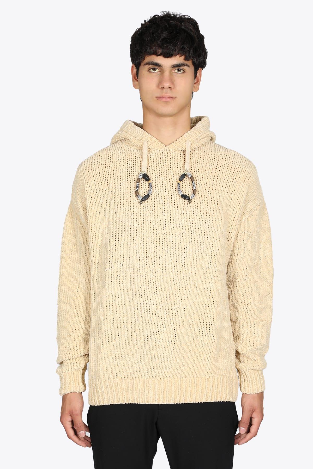 Rib Knit Milk Cenille Hooded Sweater