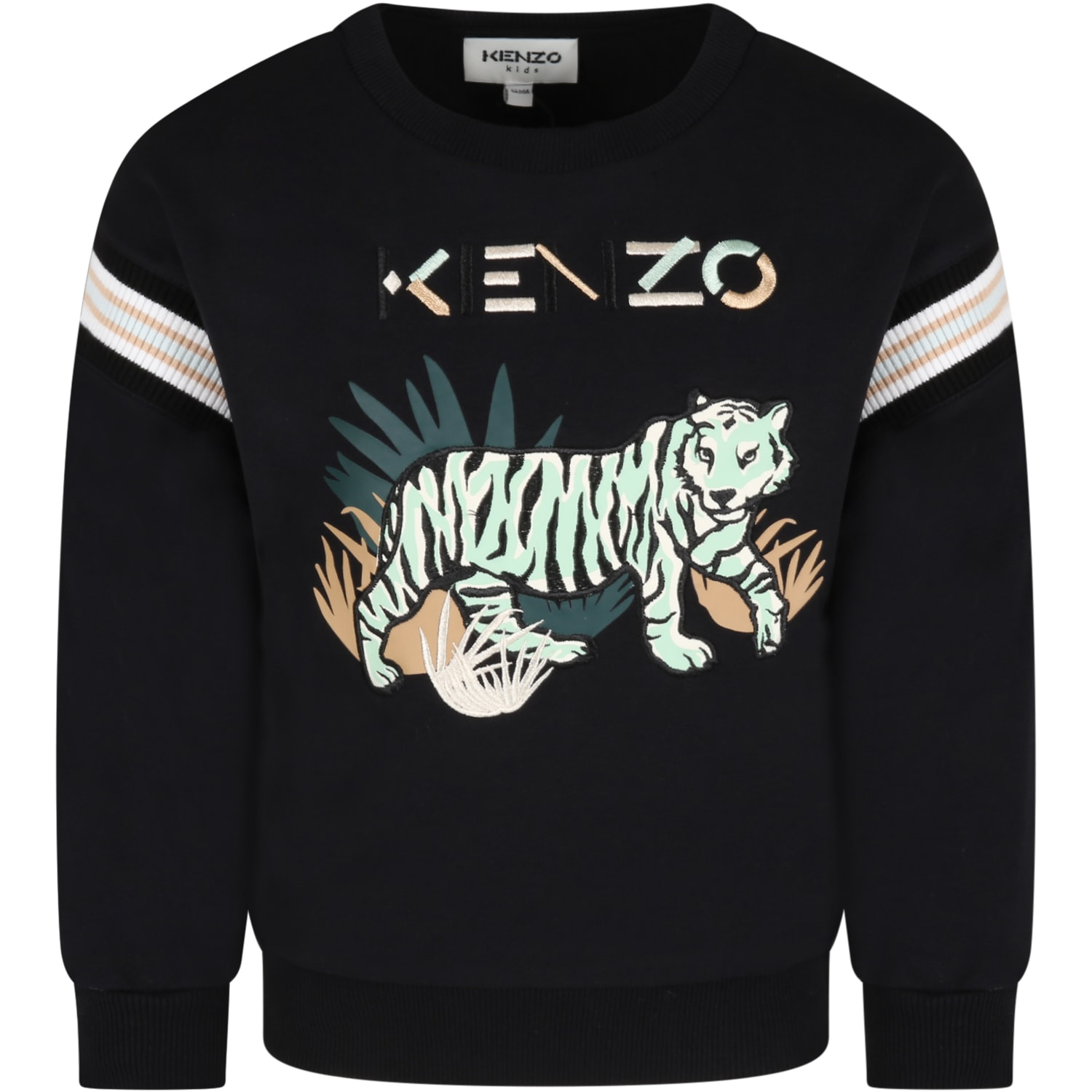 Black Sweatshirt For Kids With Logo And Tiger