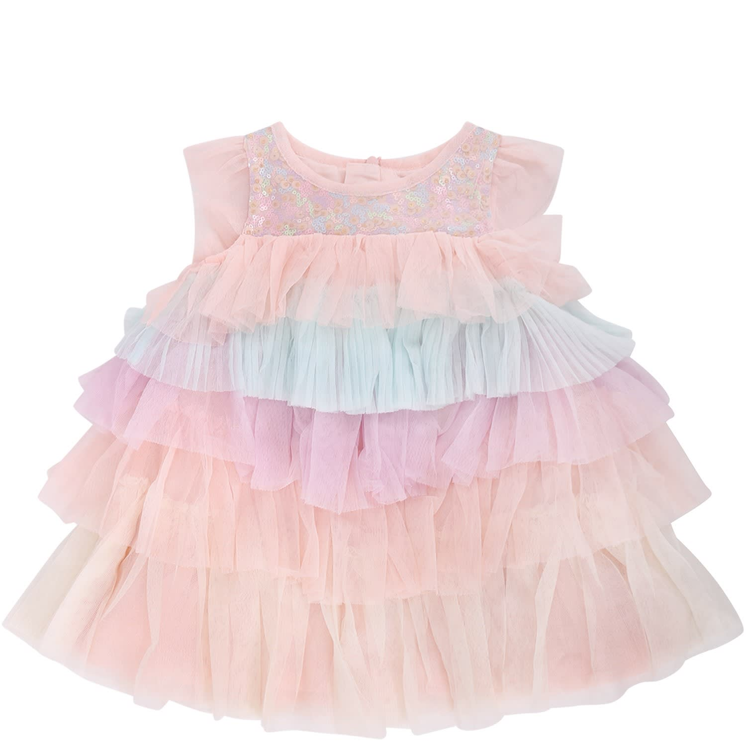 Billieblush Pink Babygirl Dress With Colorful Flounces