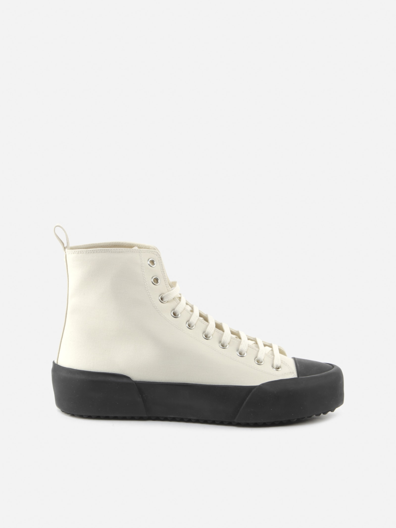 Jil Sander HIGH SNEAKERS IN COTTON CANVAS