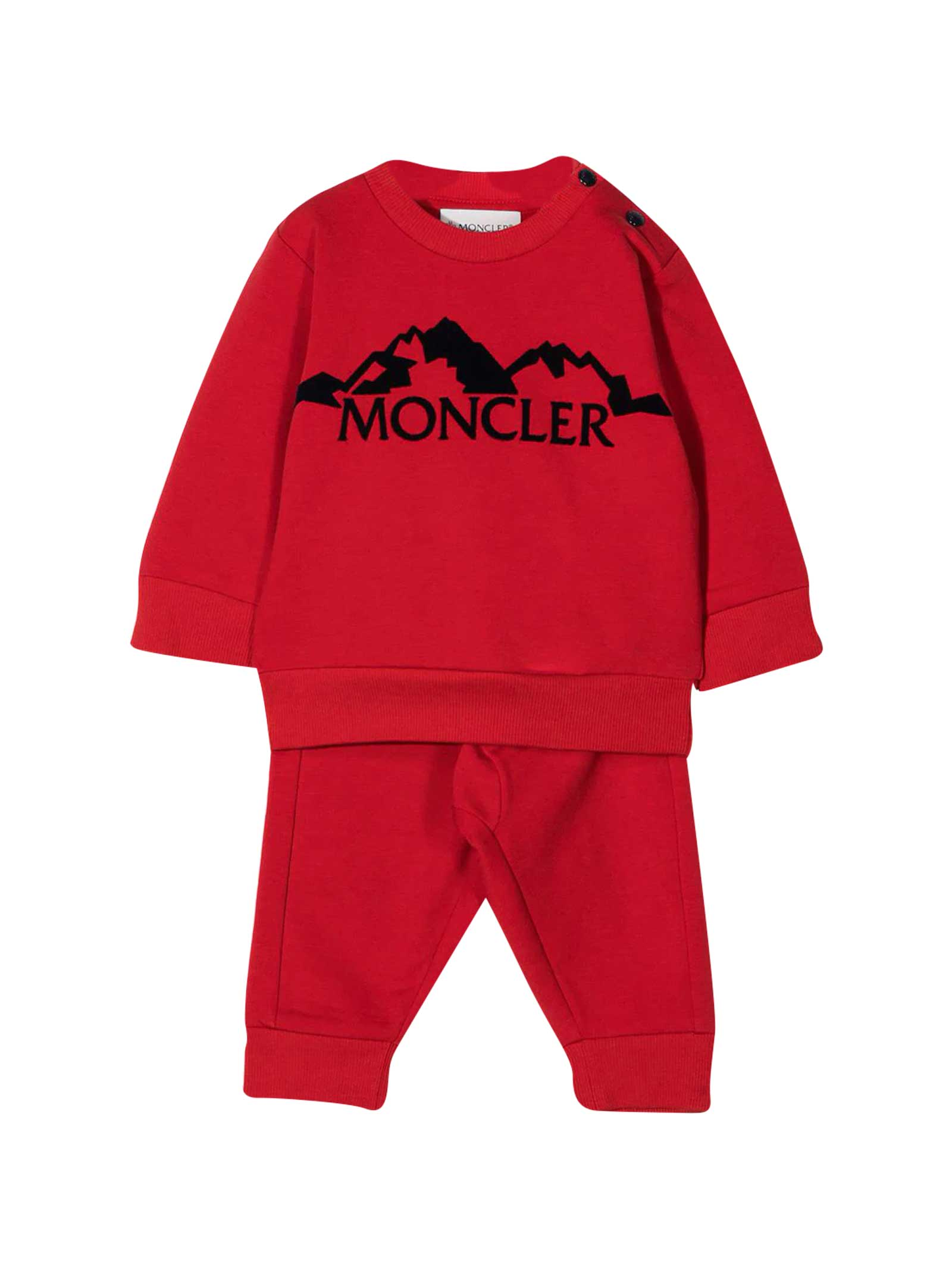 Moncler RED TRACKSUIT WITH FRONTAL LOGO EMBROIDERY