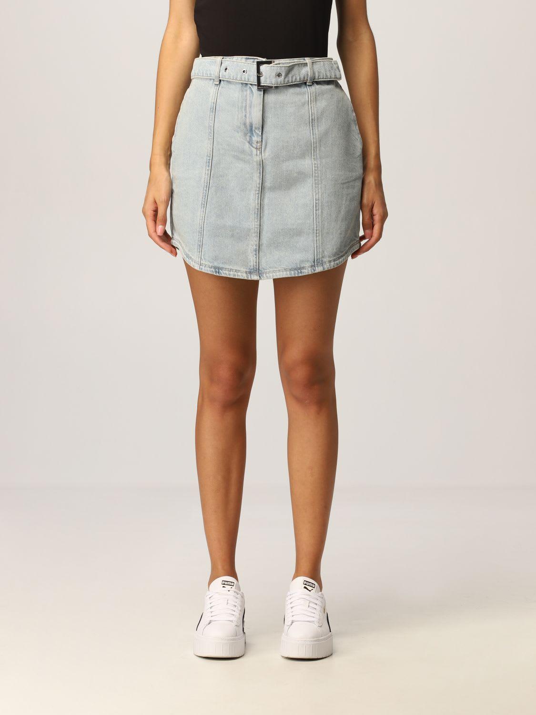 Armani Exchange Skirt Used Stretch Denim With Belt