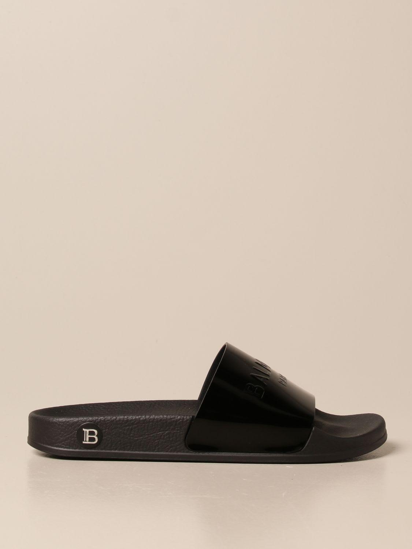 Balmain Flat Sandals Balmain Slipper Sandal In Patent Leather With Logo