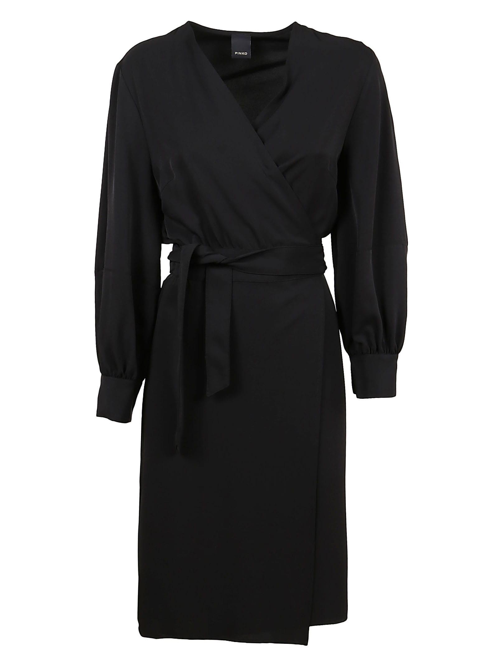 Buy Pinko Black Fluid Fabric Dress online, shop Pinko with free shipping