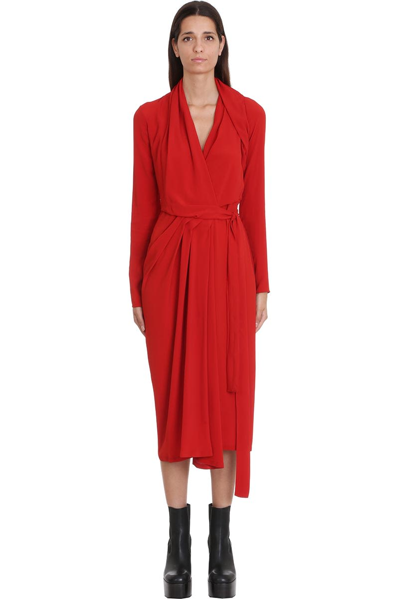 Rick Owens Wrao Ls Dress Dress In Red Tech & synthetic