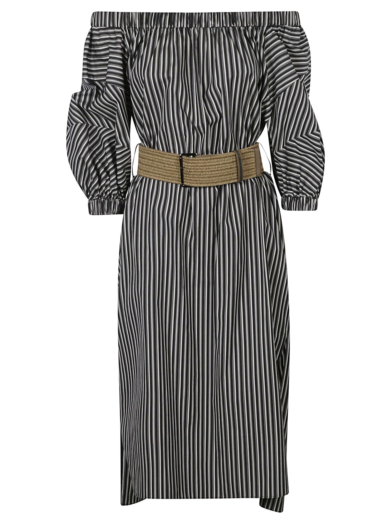 Buy Stripe Print Off-shoulder Dress online, shop Brunello Cucinelli with free shipping