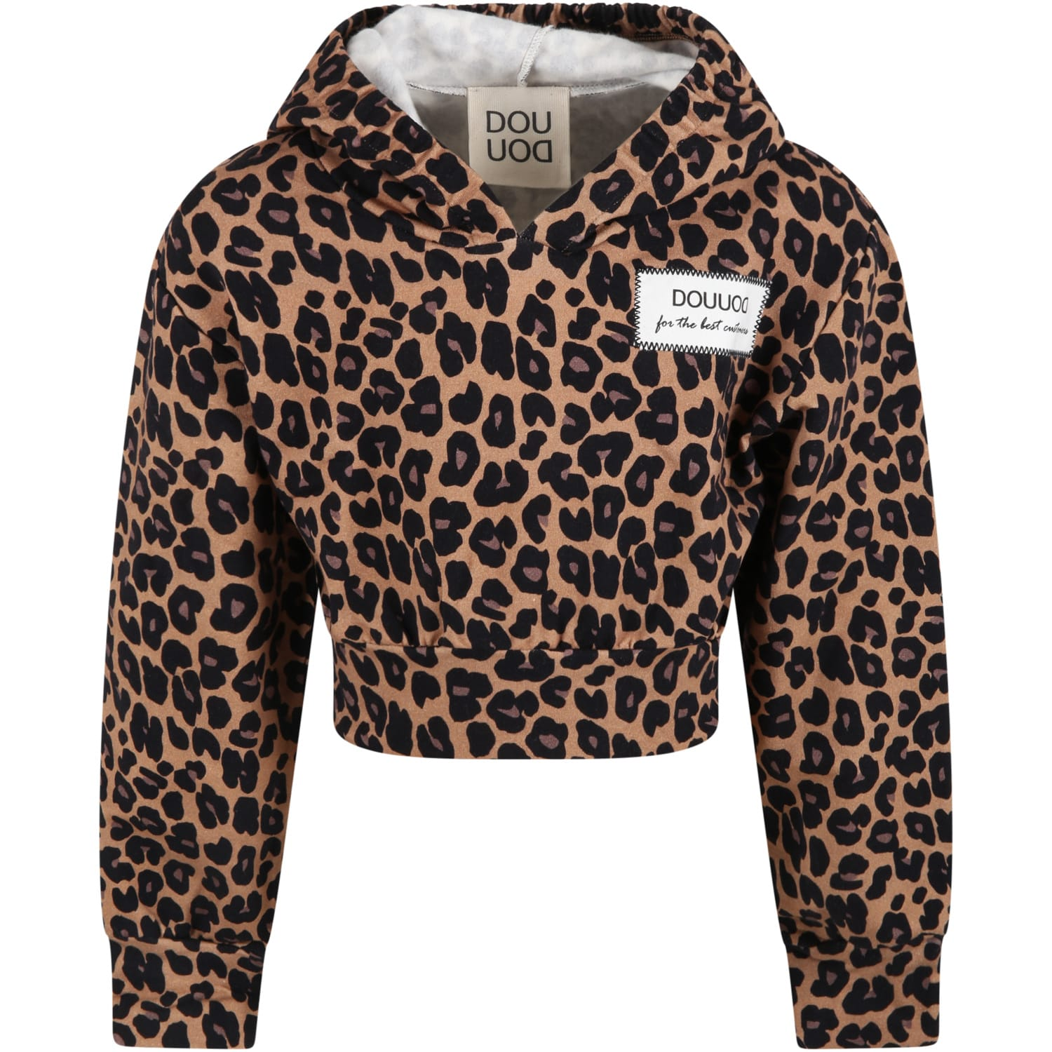 Brown Sweatshirt For Girl With Animalier Details