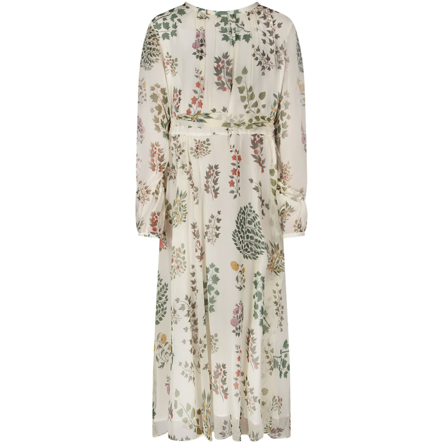 Oscar de la Renta Ivory Girl Dress With Colorful Flowers