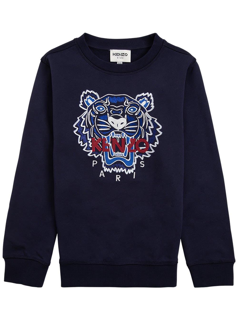 Blue Cotton Sweatshirt With Logo