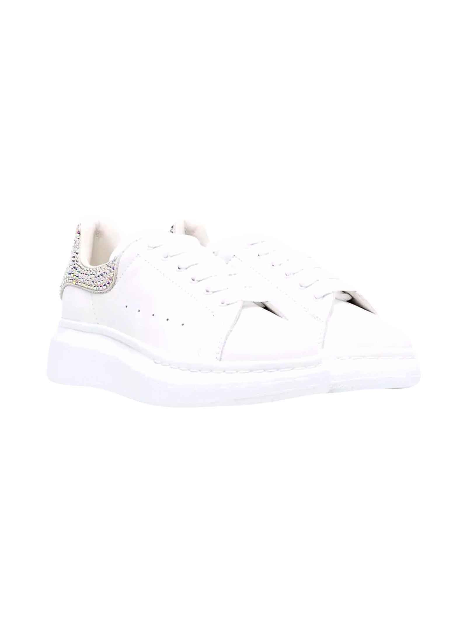 Alexander McQueen White Sneakers With Logo, Round Tip And Diamond Decoration Kids