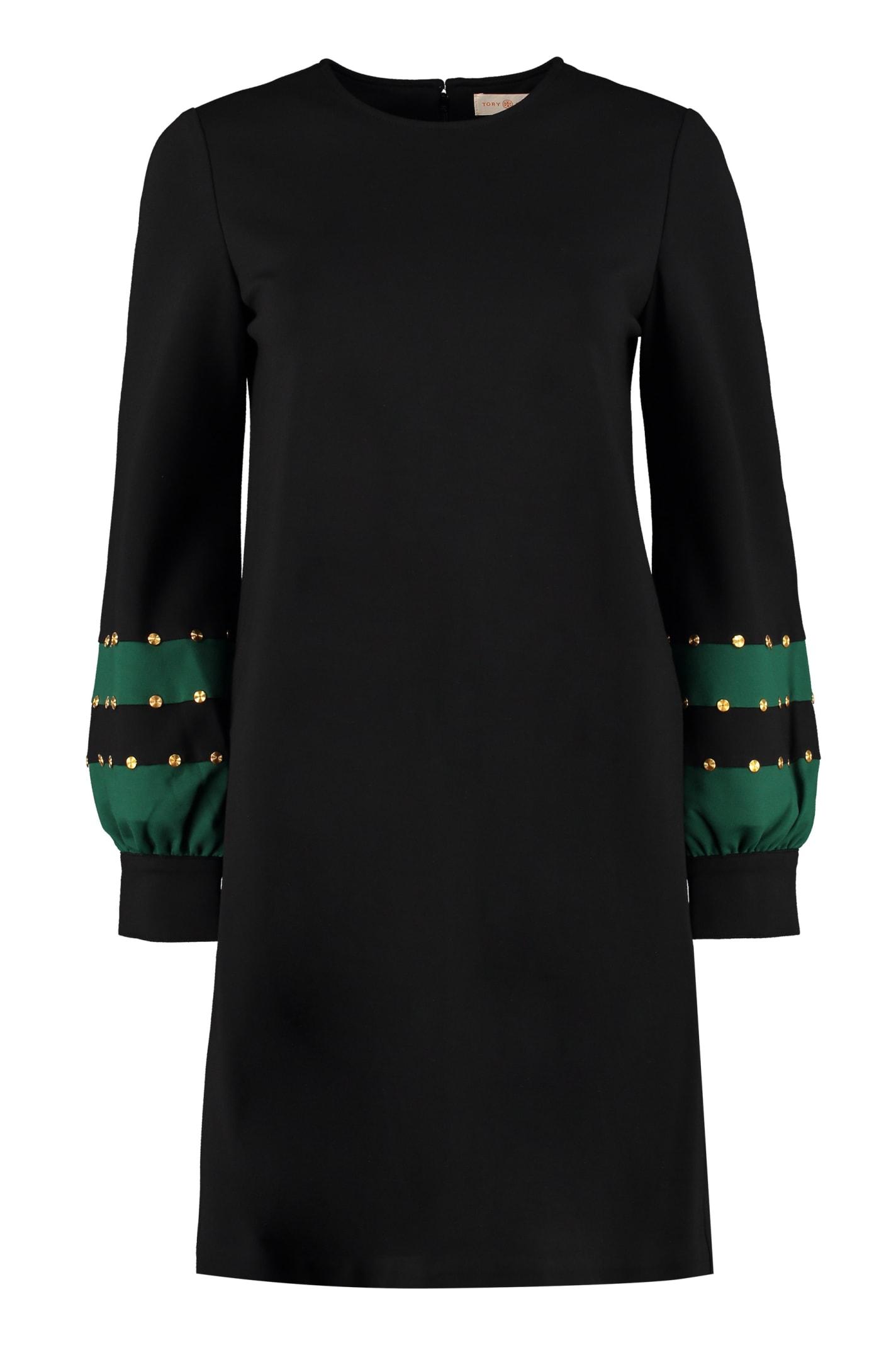 Tory Burch Ponte Embellished Color-block Dress