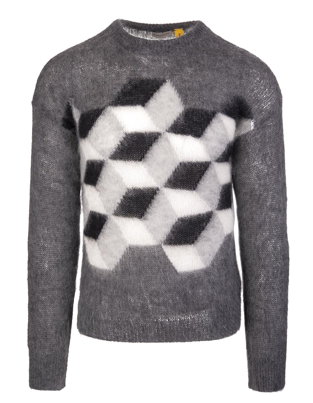 Grey Moncler Fragment Hiroshi Fujiwara Man Round-neck Sweater