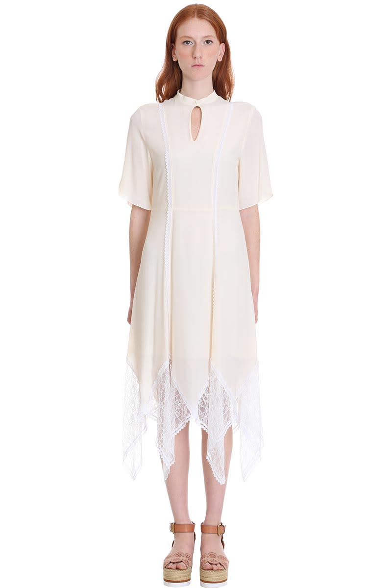 Buy See by Chloé Dress In Beige Cotton online, shop See by Chloé with free shipping