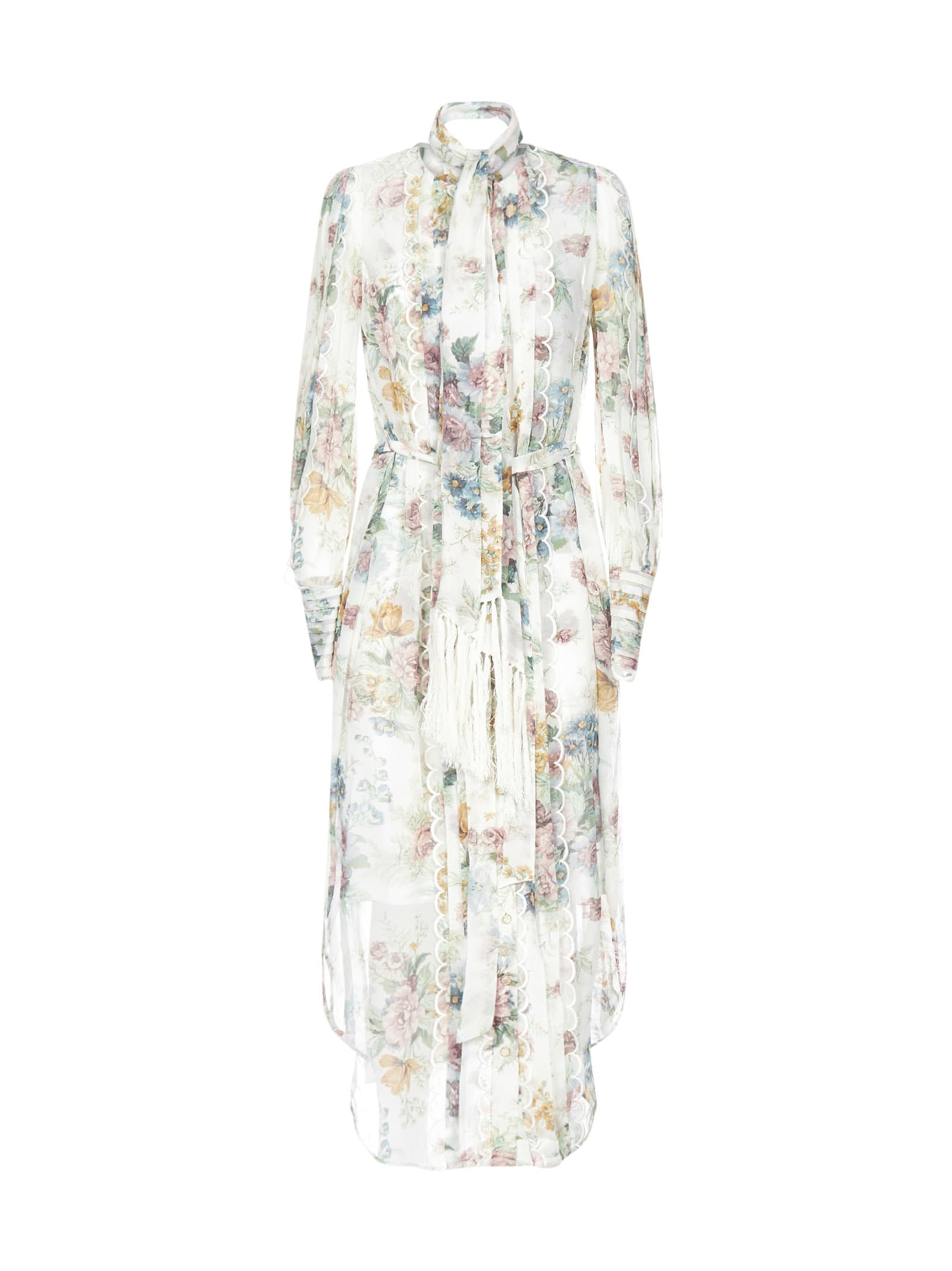 Buy Zimmermann Wavelenght Scallop Midi Dress Dress online, shop Zimmermann with free shipping