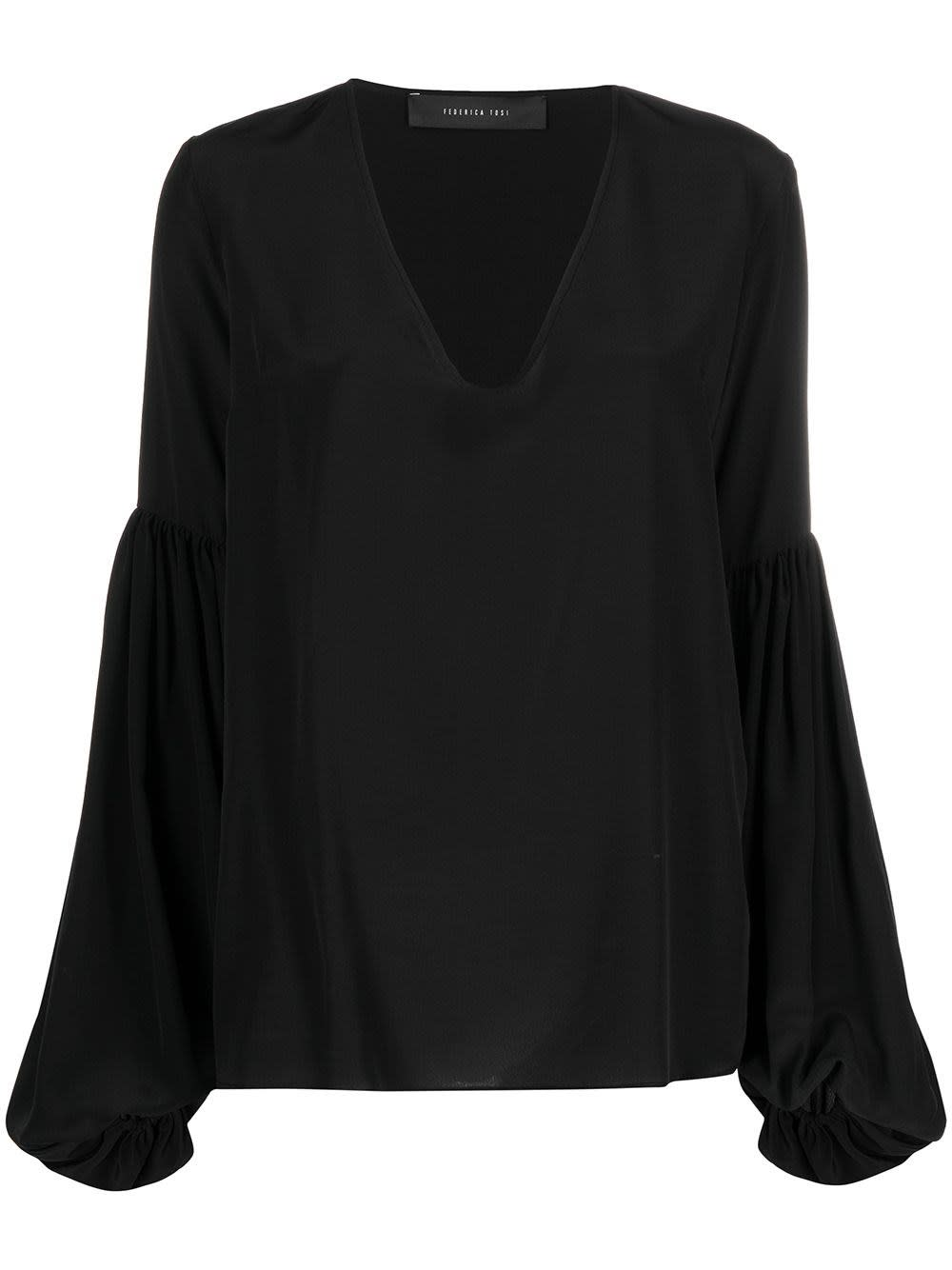 Federica Tosi BLACK SILK BLOUSE WITH PUFF SLEEVES