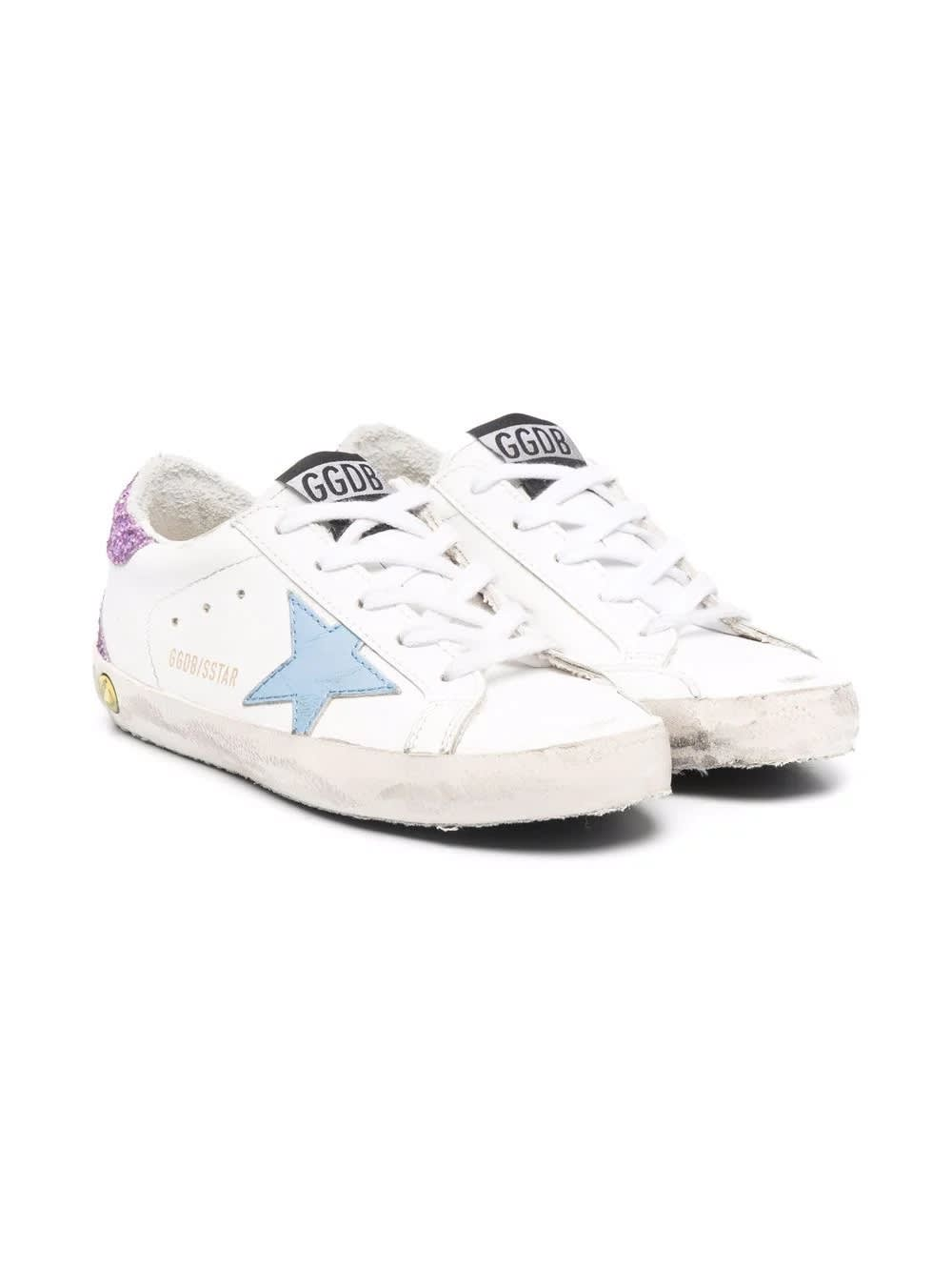 Golden Goose Sneakers With Light Blue Star And Purple Glitter Back