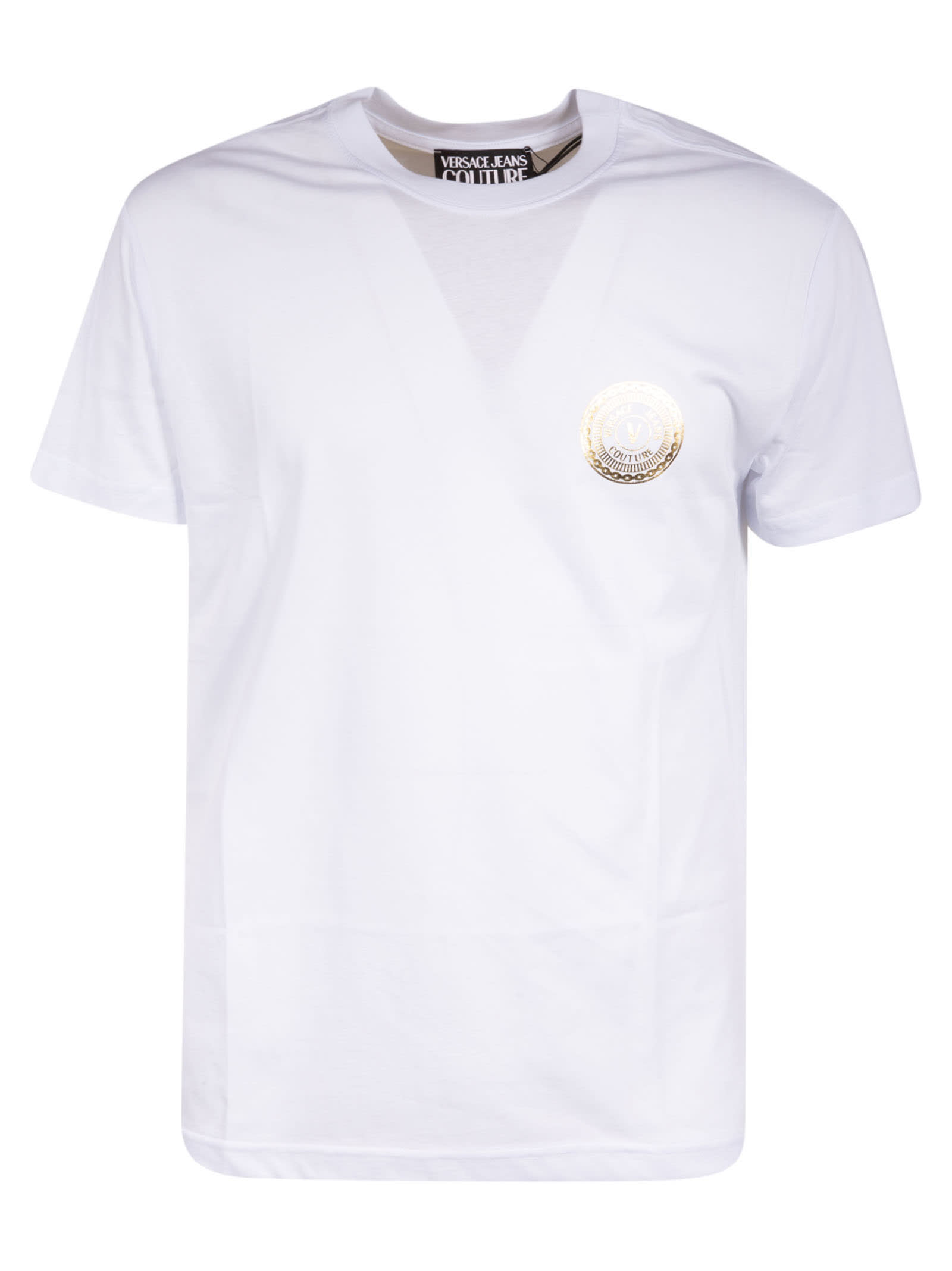 Versace Jeans Couture Round Chest Logo T-shirt In White/gold