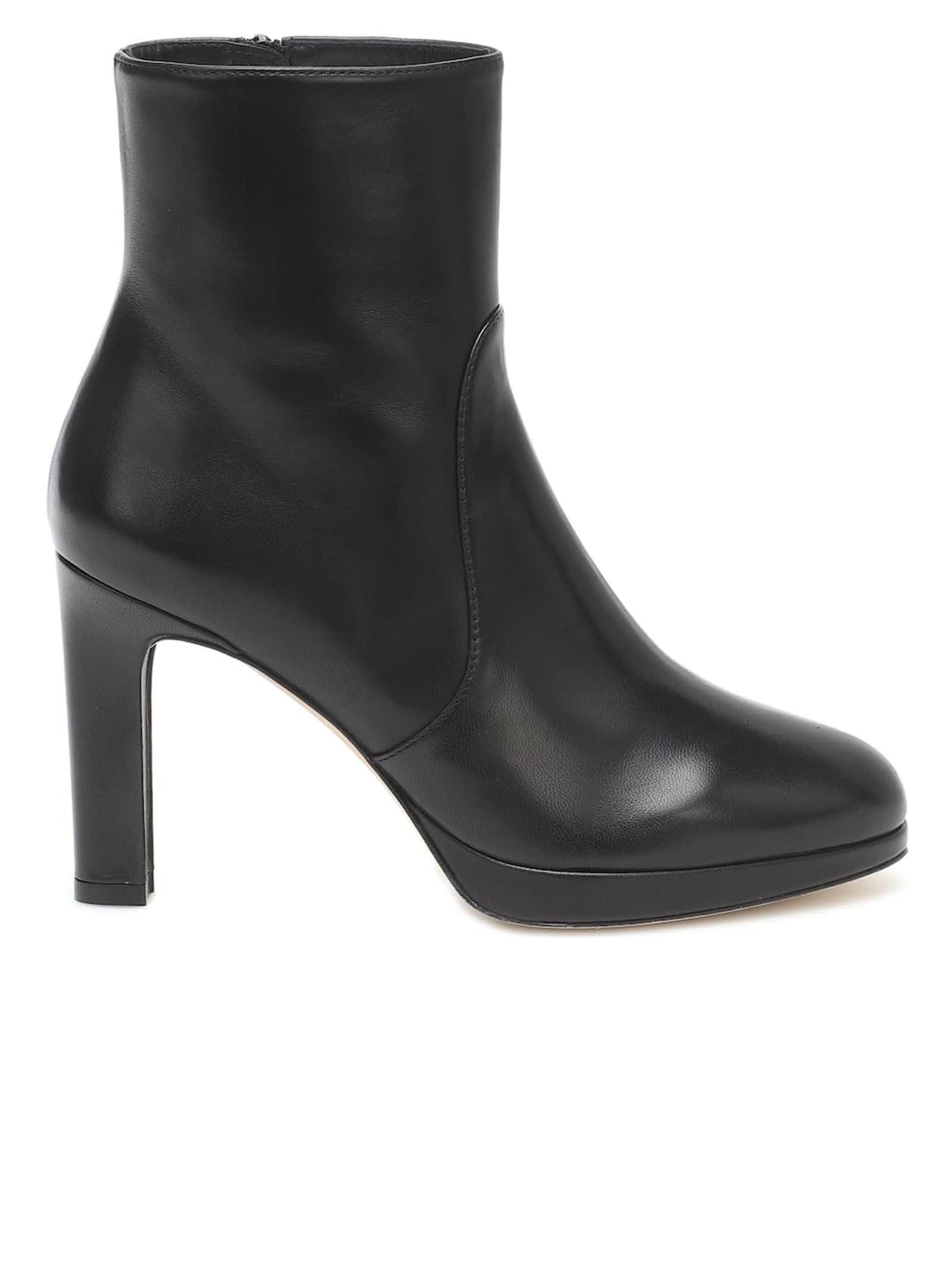 Buy Stuart Weitzman 5051 Black Leather Alani Ankle Boots online, shop Stuart Weitzman shoes with free shipping
