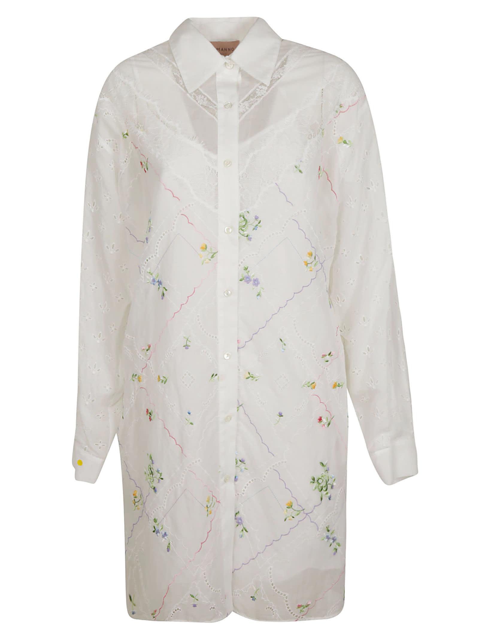 Ermanno Scervino Floral Embroidered Shirt Dress