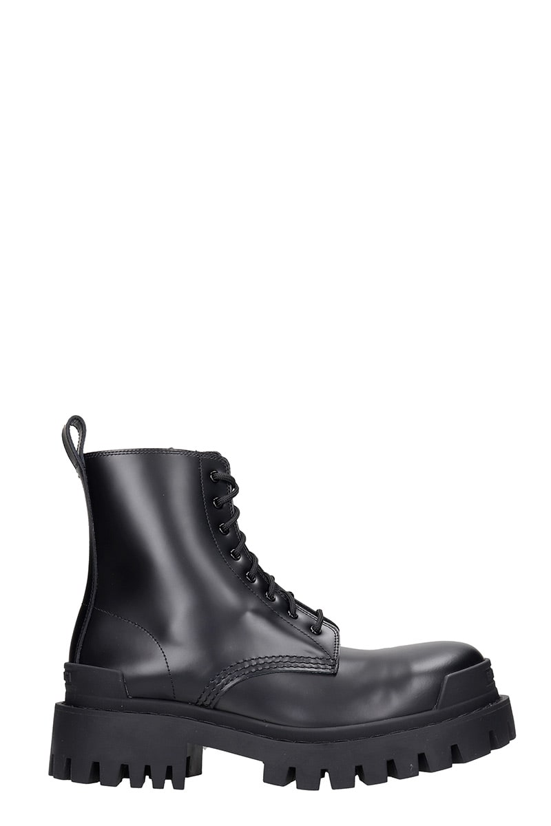 Balenciaga STRIKE COMBAT BOOTS IN BLACK LEATHER