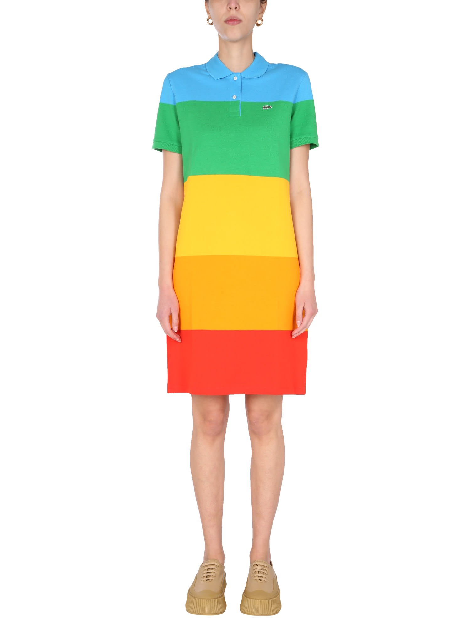 Buy Lacoste Rainbow Polo Dress online, shop Lacoste with free shipping