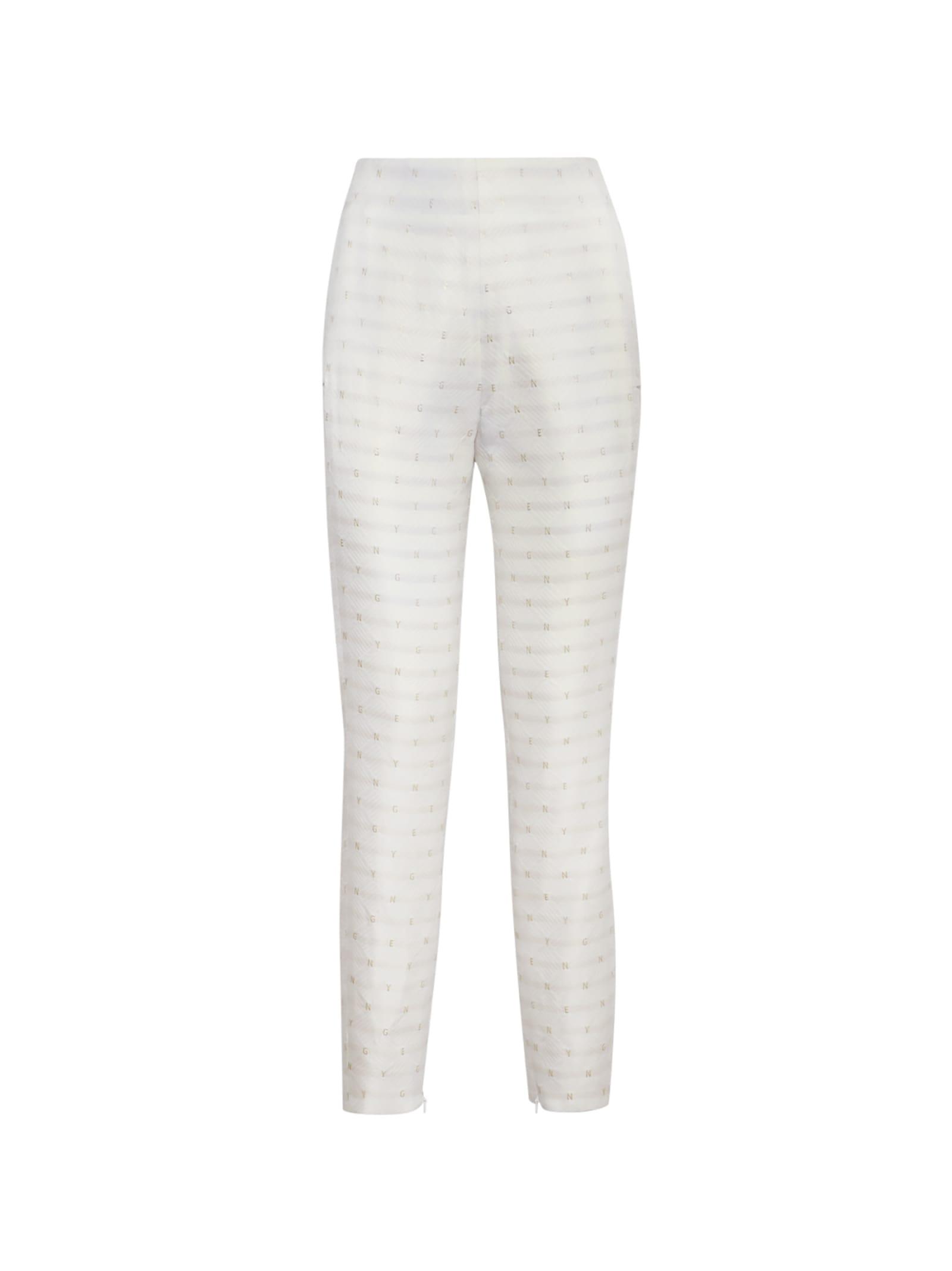 White Jacquard Trousers With Lamé Details